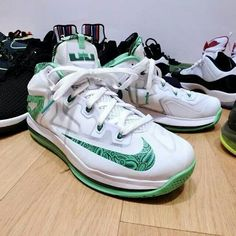 new styles 42de8 38462 This year, it s the Nike Air Max LeBron 11 Low , sporting a clean white  Hyperfuse upper with contrasting green accents.