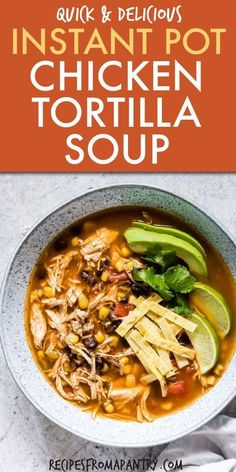 This Instant Pot Chicken Tortilla Soup is the perfect dinner ready in less than 30 mins! Using your pressure cooker you can have delicious spicy chicken tortilla soup in no time. #instantpot #pressurecooker #instantpotchickentortillasoup #chickentortillasoup #instantpotsoup #pressurecookerchickentortillasoup #easychickentortillasup #instantpotrecipes #pressurecookerrecipes Healthy Chicken Tortilla Soup, Chicken Soup Recipes, Tortilla Soup Recipes, Instant Pot Dinner Recipes, Slow Cooking… Healthy Chicken Tortilla Soup, Chicken Soup Recipes, Easy Soup Recipes, Healthy Recipes, Healthy Soup, Tortilla Soup Recipes, Instapot Chicken Soup, Gf Recipes, Instantpot Chicken Recipes