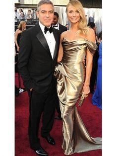 Golden Elastic Satin Strapless Celebrity Oscar Dress.  Price: 159.99