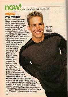 """Back in 1998, the then 25-year-old Walker was on the brink of stardom and about to become a Hollywood heartthrob -- playing high school jocks -- which was something he seemed comfortable with, saying, """"I guess I just have that jock look."""""""