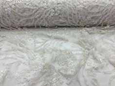 Ivory Hand Beaded Mesh Embroider Flowers.36x50inches. Wedding-Bridal Fabric Lace in Crafts, Sewing & Fabric, Fabric | eBay