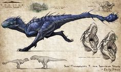 Sub-Tissoplastic T. rex Concept by EmilyStepp on DeviantArt Alien Concept Art, Creature Concept Art, Creature Design, Mythical Creatures Art, Prehistoric Creatures, Fantasy Creatures, Dinosaur Drawing, Dinosaur Art, Fantasy Beasts