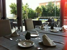 restaurant with garden views