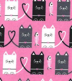 Snuggle Flannel Fabric Cat Hearts