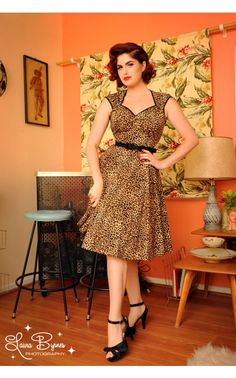 Pinup Couture - Heidi Dress in Leopard Print | Pinup Girl Clothing