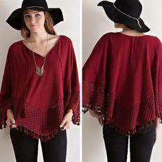 V-Neck Crochet Lace Poncho - Burgundy - $35.00