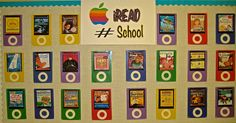 Keep same board all year long, just change the hashtag, and put in the appropriate book covers on the Ipods that go with your topic.  This one is #school, with related books that are in the library.