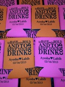 50 Personalized Custom Can Koozies Wedding Favor Coolies Quick Turnaround T492