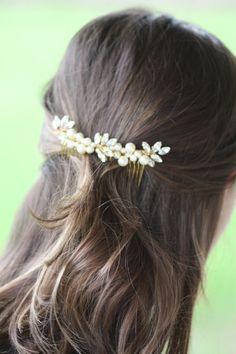 Gold Bridal comb Crystal Wedding Accessory Bridal by simplychic93