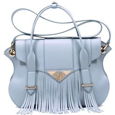 Ella Rabener Chiltern Fringed Tote found on Polyvore featuring bags, handbags, tote bags, leather crossbody tote, crossbody purse, blue tote bag, leather fringe purse and leather crossbody handbags