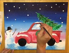 christmas tree drawing How To Paint A Christmas Tree Truck - Step By Step Painting Christmas Tree Drawing, Burlap Christmas Tree, Christmas Wood Crafts, Christmas Canvas, Christmas Truck, Christmas Tree Themes, Christmas Paintings, Christmas Projects, Christmas Traditions