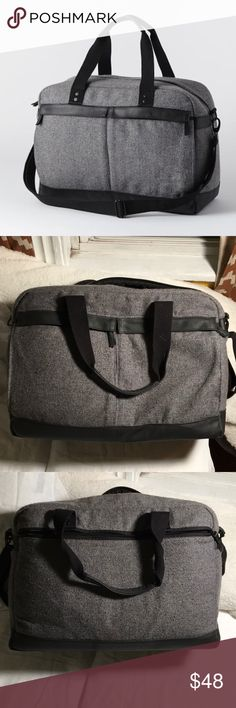 """Hex for West Elm Tweed Weekender Carry-On Bag I've used this beautiful carry-on only twice. It's a grey tweed with small flecks of color. Three big outside pockets and two large pockets inside as well. This is a great bag for trips! It has an adjustable shoulder strap and a handle carrying option.   13"""" tall, 19""""long, 10"""" wide Hex for West Elm Bags Travel Bags"""