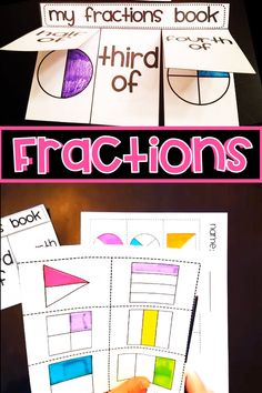 Fractions Interactive activity where they create a book to sort fraction shapes as being - Fractions For Kids, Teaching Fractions, Math Fractions, Math For Kids, Dividing Fractions, Equivalent Fractions, First Grade Lessons, First Grade Activities, Kindergarten Activities