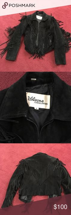 Wilson's leather ladies suede fringe coat Wilson's Leather black suede fringe ladies front zip coat fantastic condition. Does need to be cleaned has been stored. Side pockets size 8 Wilsons Leather Jackets & Coats