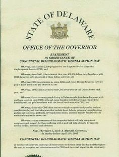 April is CDH Awareness Month - April 19th is Congenital Diaphragmatic Hernia Action Day: Delaware Proclaims April 19th, 2015 as Congenital ...