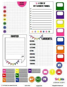 Free Color Brights Journal Cards and Labels for Project Life from VIntage Glam Collectibles