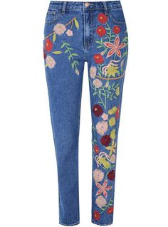 Mid Blue Wash Embroidered Straight Leg Jeans