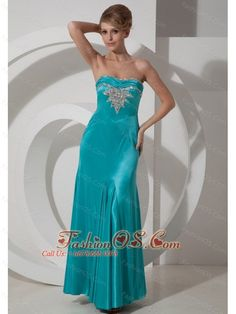 Column / Sheath Beading Prom Dress Ankle-length Elastic Woven Satin Strapless Turquoise  http://www.fashionos.com  Classical and fashionable.It features a sweet heart neckline heavily embellished with shimmering beadings and asymmetrical ruching on the bust area that contours your feminine silhouette. The ankle length skirt makes you elegant.