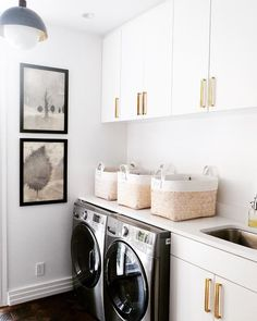 Black And White Laundry Room Decor. White Mudroom Bench With Black Herringbone Tiles . Home and furniture ideas is here White Laundry Rooms, Laundry Room Wall Decor, Laundry Room Organization, Small Laundry, Laundry Room Design, Laundry Closet, Laundry In Bathroom, Organizing, Organization Ideas