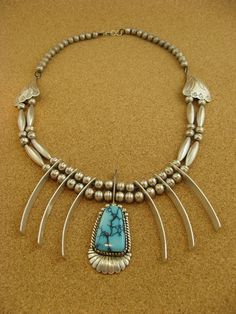 by silversmith Tom Willeto | Vintage Silver and turquoise Navajo Necklace