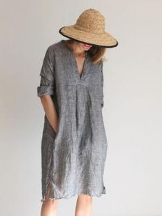 CP Shades Isobel Tunic - Charcoal by elvira Mode Outfits, Fashion Outfits, Womens Fashion, Mode Style, Style Me, Mode Plus, Vestido Casual, Estilo Boho, Linen Dresses