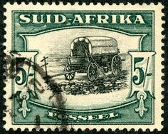 "Union of South Africa 1933 Scott 64 (SG green & black ""Ox Wagon"" Photogravure; Die I Africa Symbol, Union Of South Africa, South Afrika, Protea Flower, Old Stamps, My Childhood Memories, My Land, African History, West Africa"