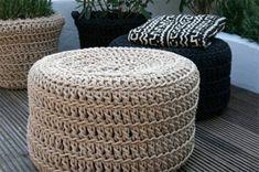 Fundas para asientos o puffs tejidas con cuerda de algodón