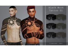 The Sims 4 Black work tattoo 01 by quirkykyimu Sims 4 Mm Cc, Sims Four, Sims 4 Cas, My Sims, Sims 4 Men Clothing, Sims 4 Male Clothes, Sims 4 Body Hair, Sims 4 Piercings, Sims 4 Tattoos