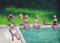 Pool Party, Original Painting, Summer, Swimming Pool, 1960s, Bathing Suits, Women, Retro, Swimmers, Group Portrait, Bathing Caps, Sunny Day by mygoodbabushka on Etsy