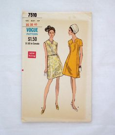Vintage Vogue dress pattern 7510 size 16 uncut sewing pattern 1960s A line by ResourcefulGoods on Etsy