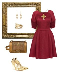 """red gold"" by ycsandjaja on Polyvore featuring Chanel, Oscar de la Renta, Lattori, Belcho, Jennifer Meyer Jewelry and Mask"