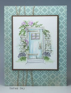 Karen Day using Art Impressions Watercolor stamp sets WC Door Set and WC Wall Texture Set. Karen Day using Art Impressions Watercolor stamp sets WC Door Set and WC Wall Texture Set. Watercolor Art Diy, Watercolor Images, Watercolor Illustration, Watercolor Flowers, Watercolor Tutorials, Watercolor Portraits, Painting Tutorials, Painting Patterns, Watercolor Landscape