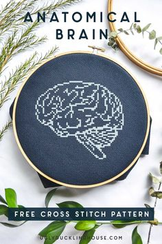 Tips on how I quickly frame cross stitch into a traditional picture frame, plus my anatomical brain cross stitch pattern, perfect for spooky Halloween decor. Cross Stitch Art, Cross Stitch Needles, Cross Stitch Designs, Cross Stitching, Cross Stitch Embroidery, Embroidery Art, Cross Stich Patterns Free, Friendship Bracelet Patterns, Brain Science