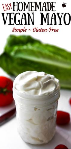 This vegan mayo recipe uses olive oil and soy milk to easily make a gluten-free, dairy-free, and egg-free mayo! Use this mayo on sandwiches, in dips, or salads. This homemade vegan mayonnaise tastes j Dairy Free Mayo, Dairy Free Eggs, Dairy Free Recipes, Vegetarian Recipes, Gluten Free Mayo Recipe, Egg Mayo Recipe, Egg Free Mayonnaise Recipe, Vegan Sauces, Vegan Foods