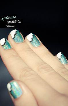 Holo blue sky and cloud nails