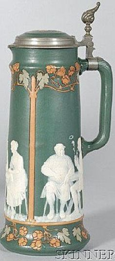 Image detail for -Mettlach; Stein, No 2773, Cameo, Tavern Scene, Inlay Lid, 3 Liter ...