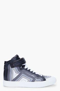 PIERRE HARDY Grey High-Top Nappa Sneakers