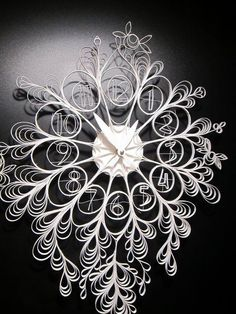 13 Delightfully Delicate Laser-Cut Clocks You Need In Your Life Paper Clock, Clock Art, Diy Clock, Paper Art, Paper Crafts, Diy Crafts, Wall Clocks, Quilling Images, Paper Quilling Designs