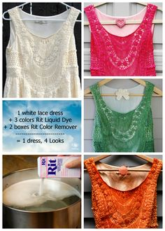 1 White Lace Dress, 4 Different Looks with Rit Dye& Rit Dye Color Remover. Never thought the color remover would work this well. Rustic Outfits, Vintage Outfits, Rit Dye, Diy Kleidung, Shirt Refashion, How To Dye Fabric, Diva Fashion, Bead Earrings, Sewing Hacks