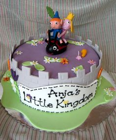 Anja's Little Kingdom Cake Anja's purple and cheerful birthday cake. Ben And Holly Cake, Ben Y Holly, 3rd Birthday, Birthday Cakes, Birthday Ideas, Girl Cakes, Fondant Cakes, Holi, Cake Decorating