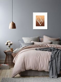 Sweet Dreams Rose Gold Print Set of 2 Rose Gold Prints Bedroom Wall Decor Copper Above Bed Art Nursery Print Copper Sweet Dream Poster Home Decor Bedroom, Modern Bedroom, Room Decor Bedroom Rose Gold, Copper Bedroom Decor, Rose Gold Wall Decor, Mauve Bedroom, Bedroom Artwork, Grey Wall Bedroom, Bedroom Photos