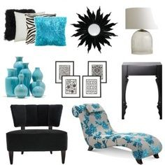Some modern accessories for a black, white and turquoise bedroom