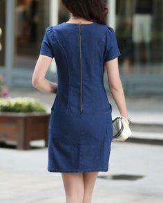 2016 verão de manga curta tamanho grande soltas denim dress mulheres slim a linha carta ocasional floral vintage dress