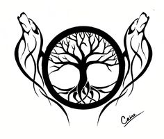 Another Wolf and Tree of Life design by CalamityMoon.deviantart.com on @DeviantArt