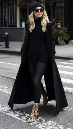 Duster Coat With an All-Black Look, Leopard Booties, and a Beanie