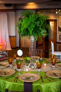 Shilshole Bay Beach Club Wedding Tasting Event - Hunter table in green and brown.