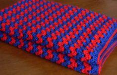 Crochet granny stripes blanket