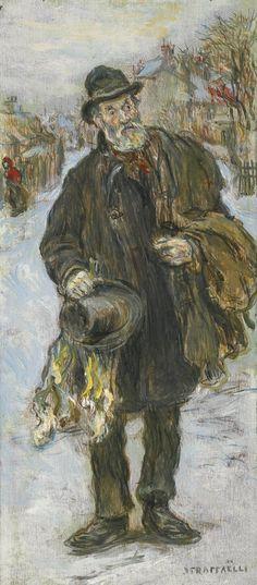 Jean François Raffaëlli (1850-1924), 'Le chiffonnier', oil on panel, 24 x 10 cm
