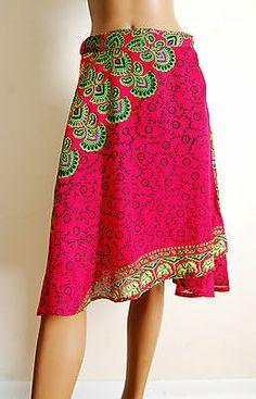 Wrap Skirt Knee Length Green Pink Rayon Boho India Mandala Peacock ONE SIZE