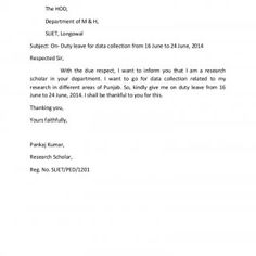 To The HOD, Department of M & H, SLIET, Longowal Subject: On- Duty leave for data collection from 16 June to 24 June, 2014 Respected Sir, With the due r. http://slidehot.com/resources/application-for-od.33677/